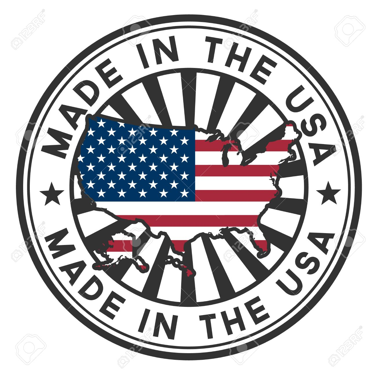 Stamp with map and flag of the USA Made in the USA - 14386689