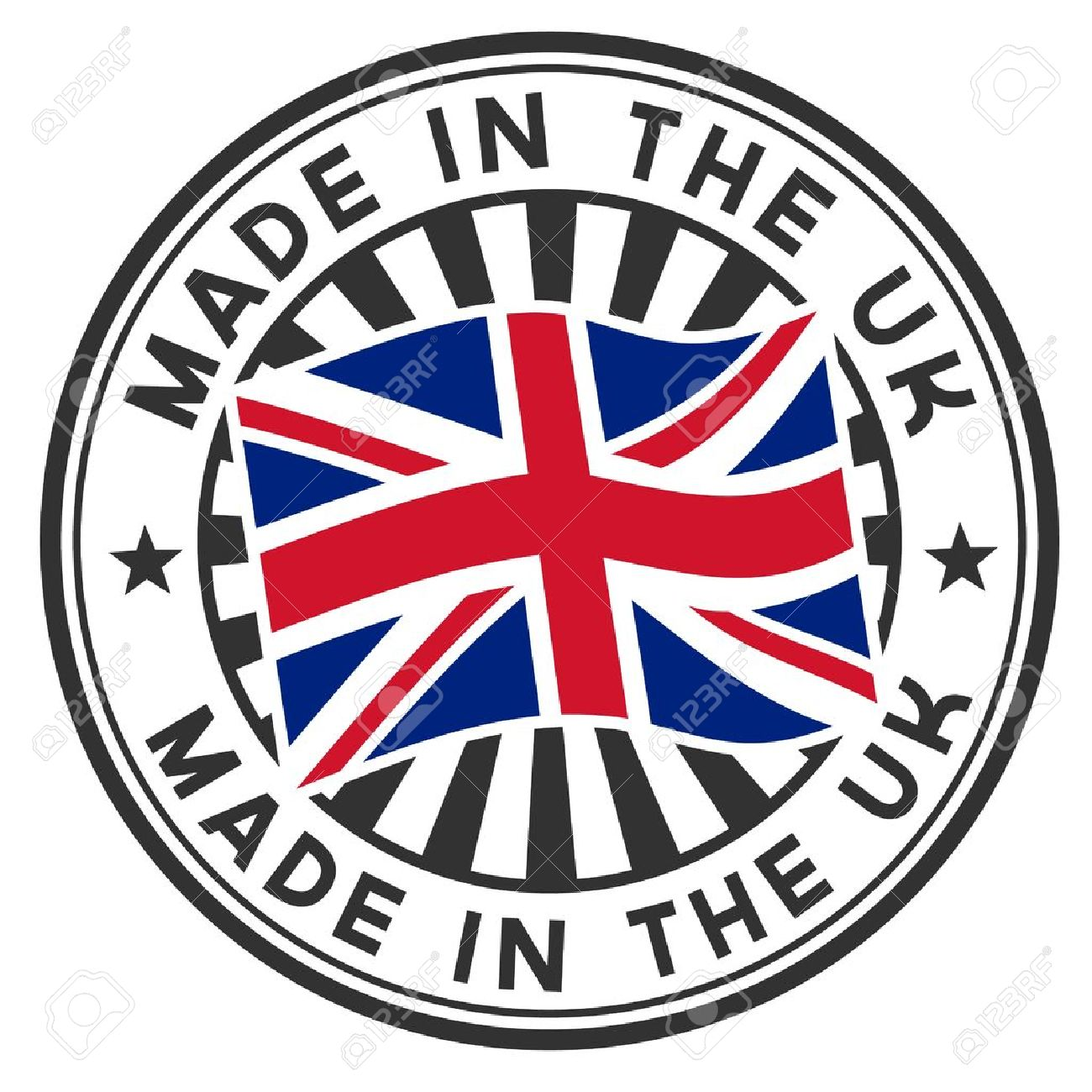 Stamp with flag of the UK Made in the UK - 14562403