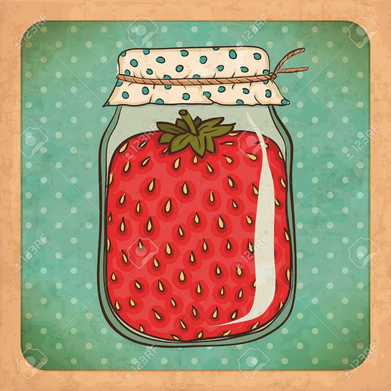 Strawberry jam Vintage cardboard - 16296728