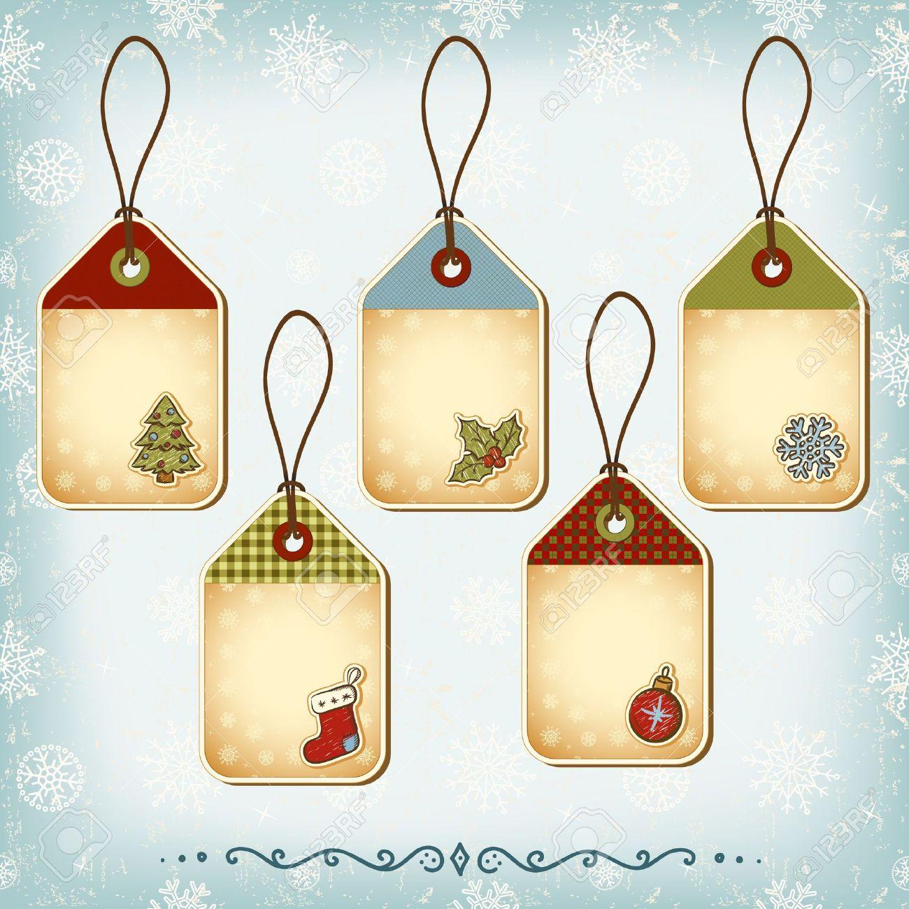 Vintage Christmas tags set. Seamless pattern background - 16418524