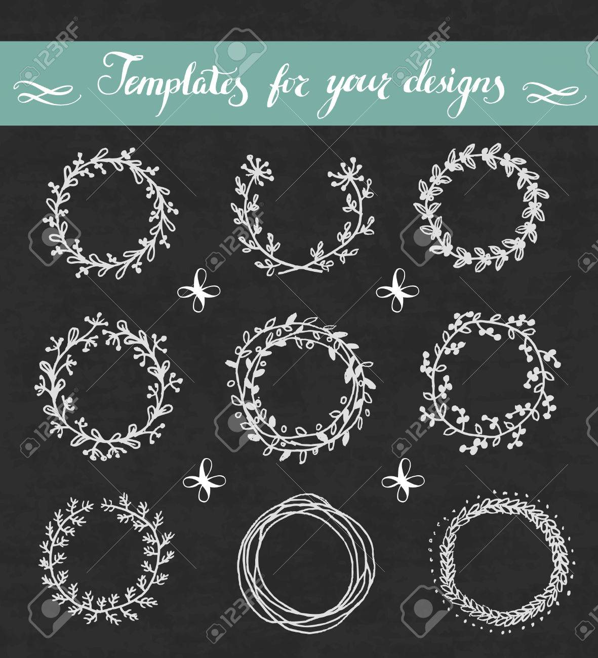 Vector hand drawn set of floral wreathes on blackboard. - 29466977