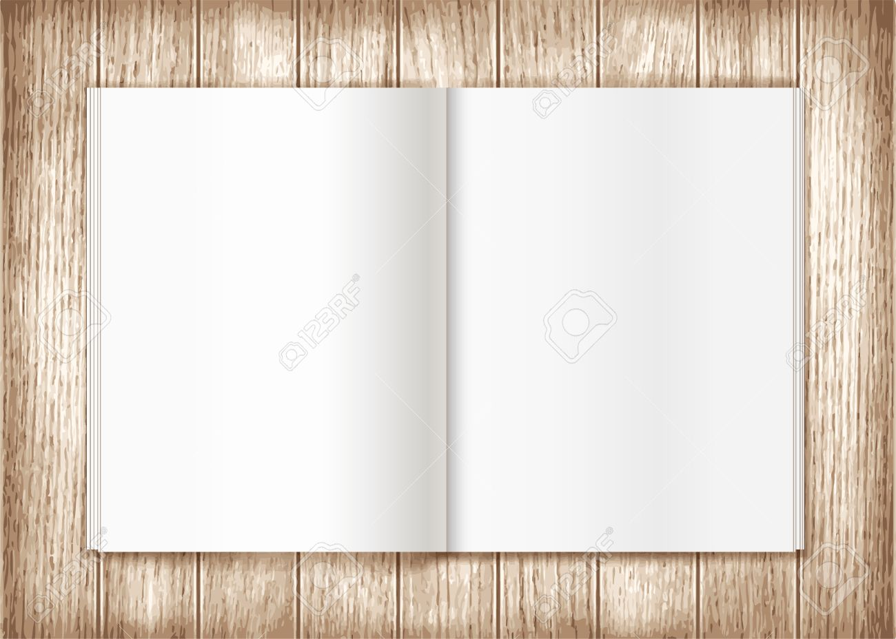 Blank magazine on wooden background. Template - 40928727