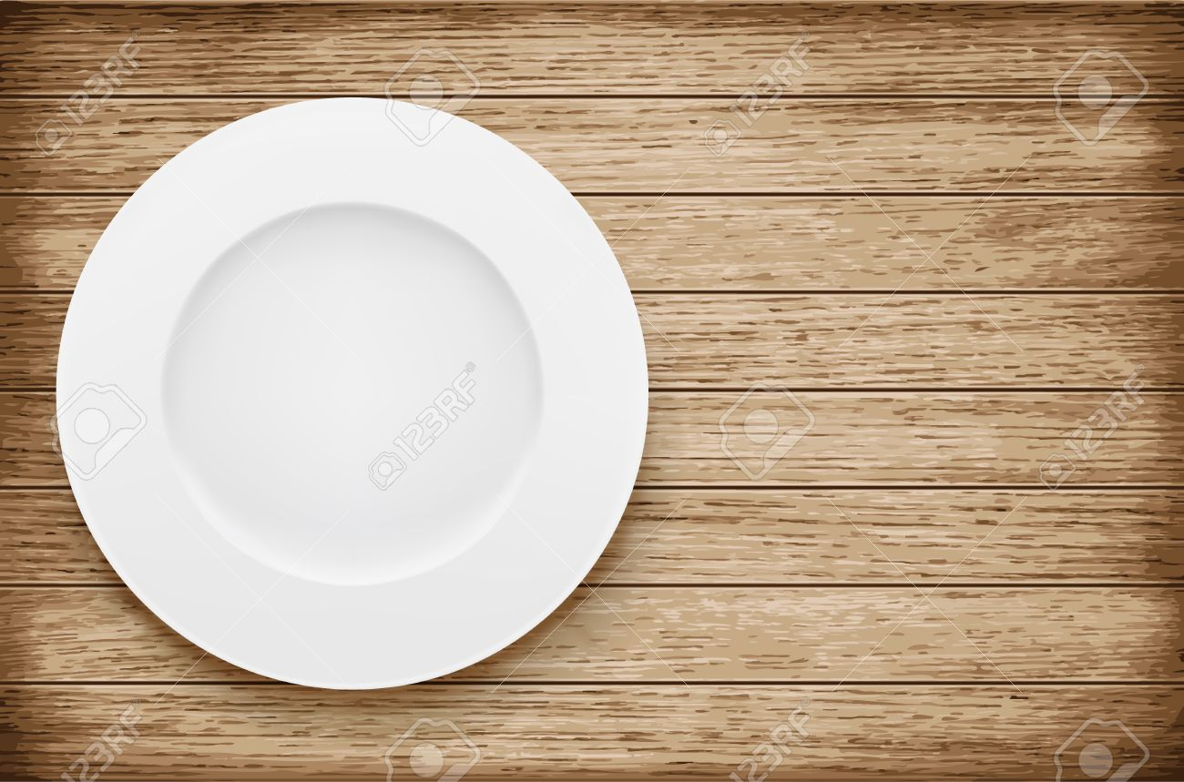 Empty plate on wooden table. Vector illustration - 40923519