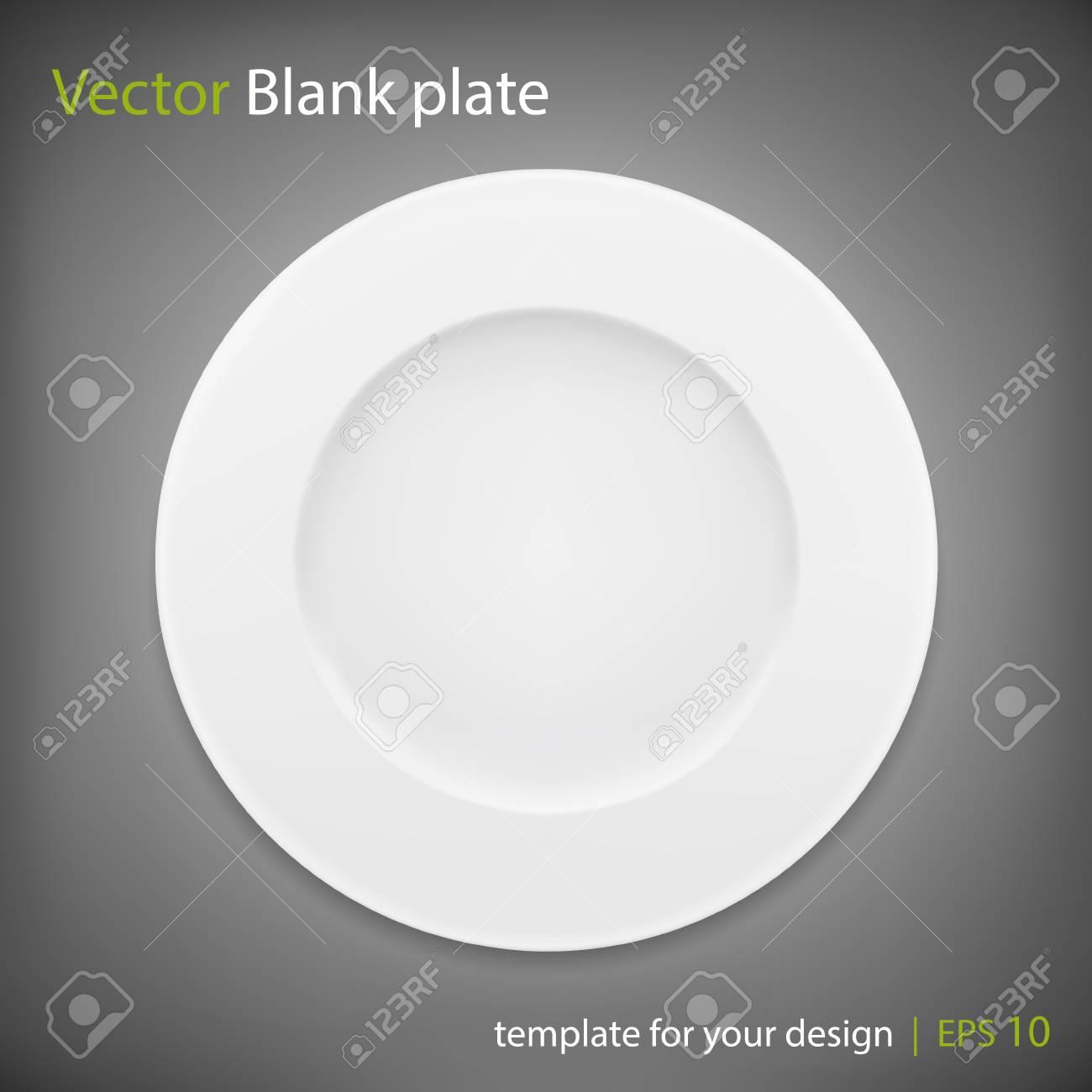 Empty white plate on grey bakcground. Vector - 41256456
