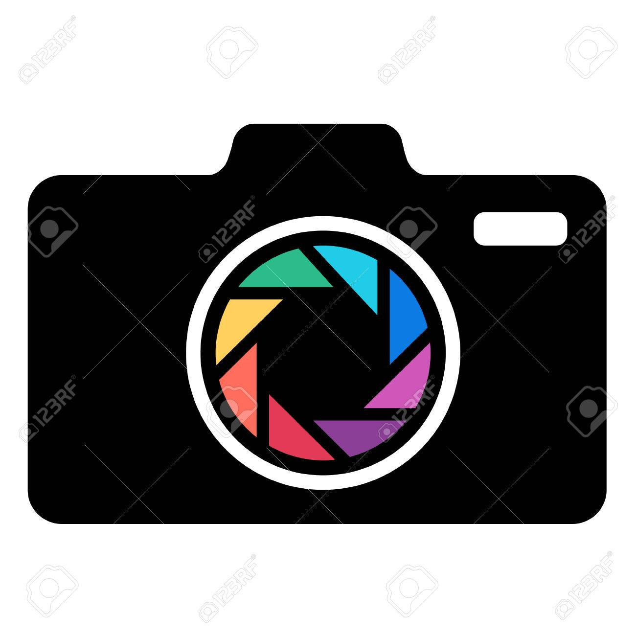 Black Camera icon with colorful lens. Vector - 55542249
