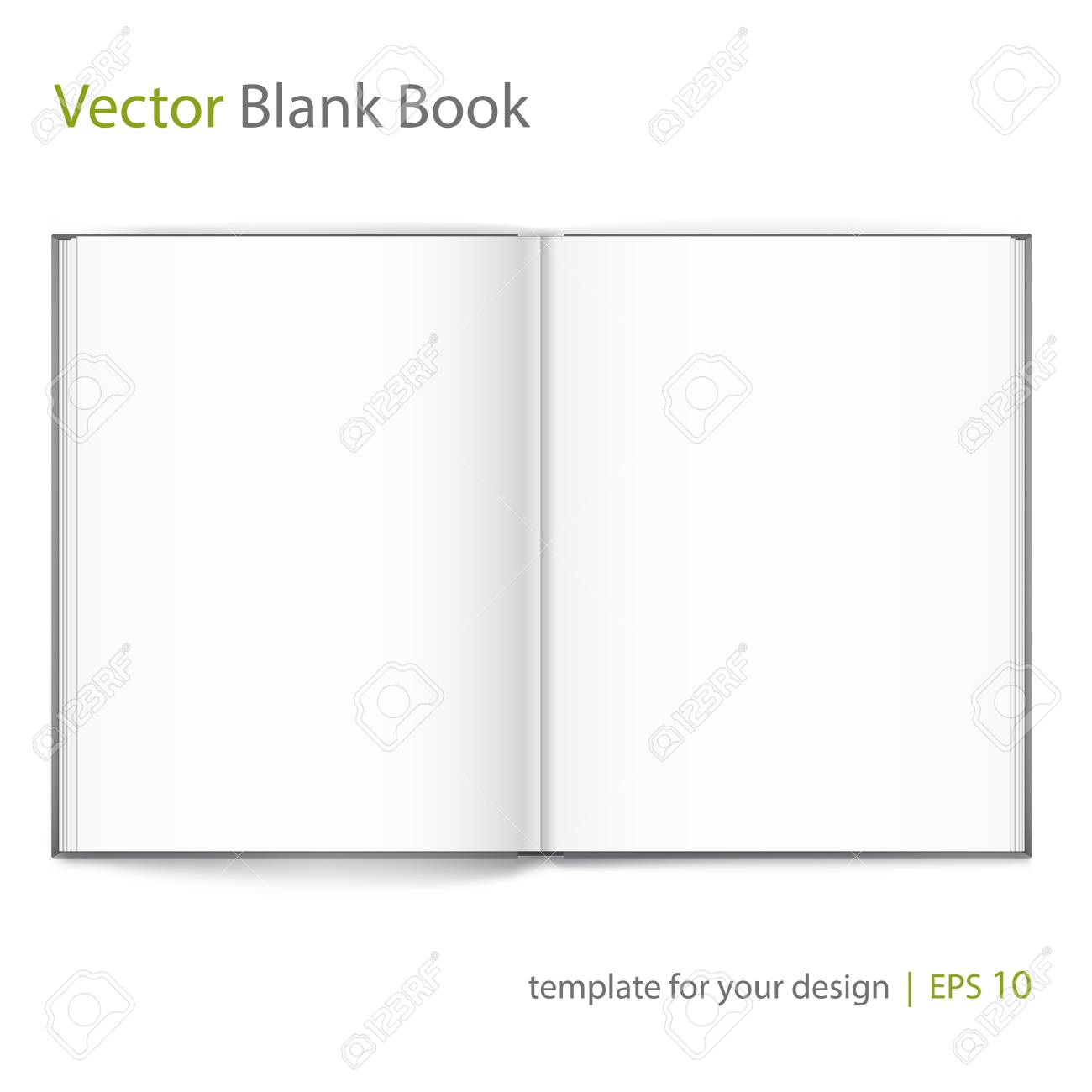 Vector blank of open hardcovered book on white background. - 61723552