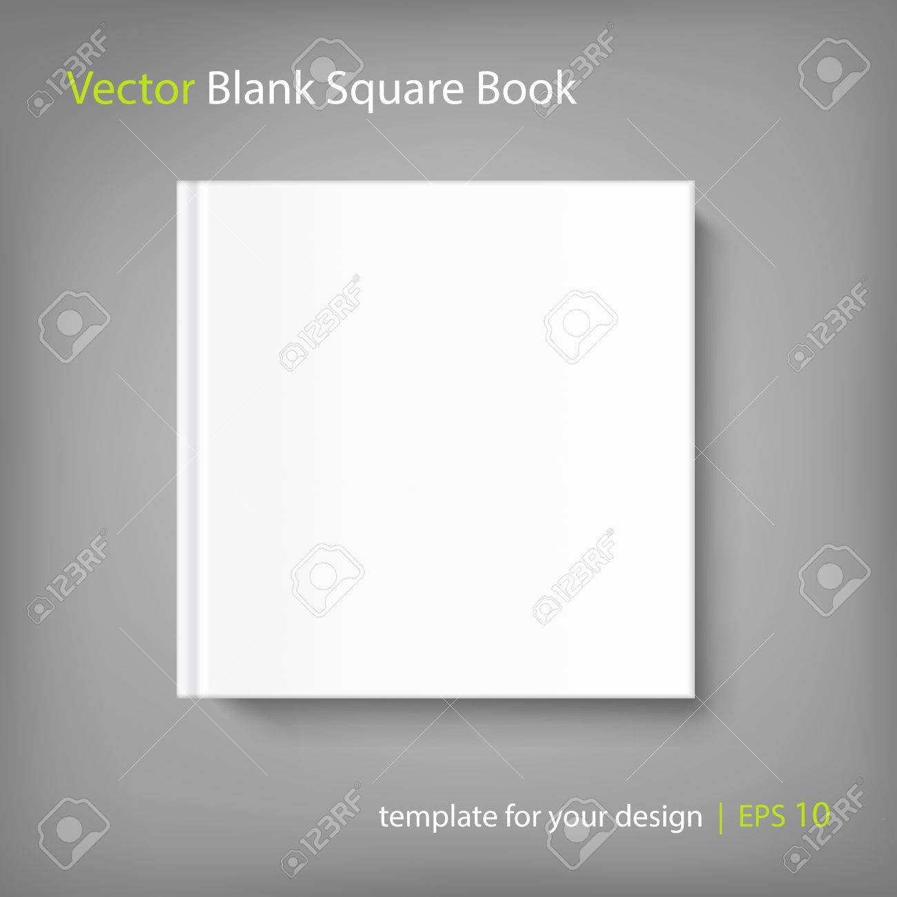 Mock up square cover book on grey background. Vector template for your design. - 64500277