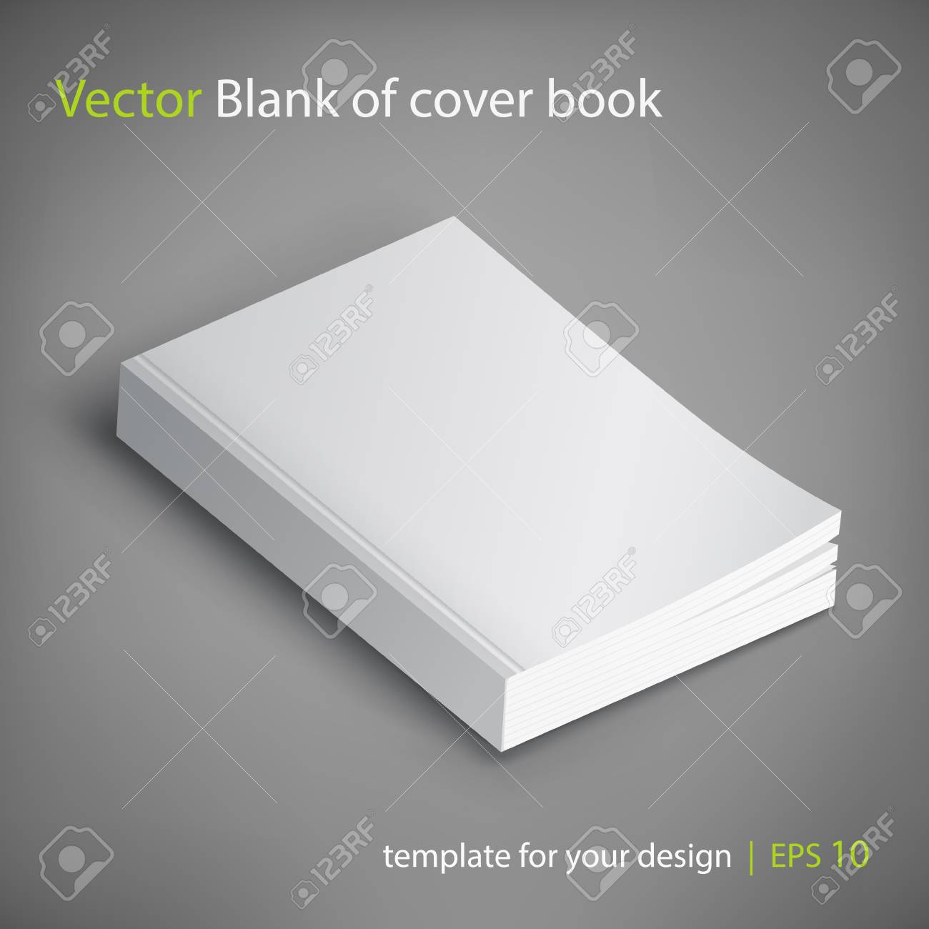 Realistic vector blank of paperback cover book. Template for your design. Grayscale Mockup. - 78710139