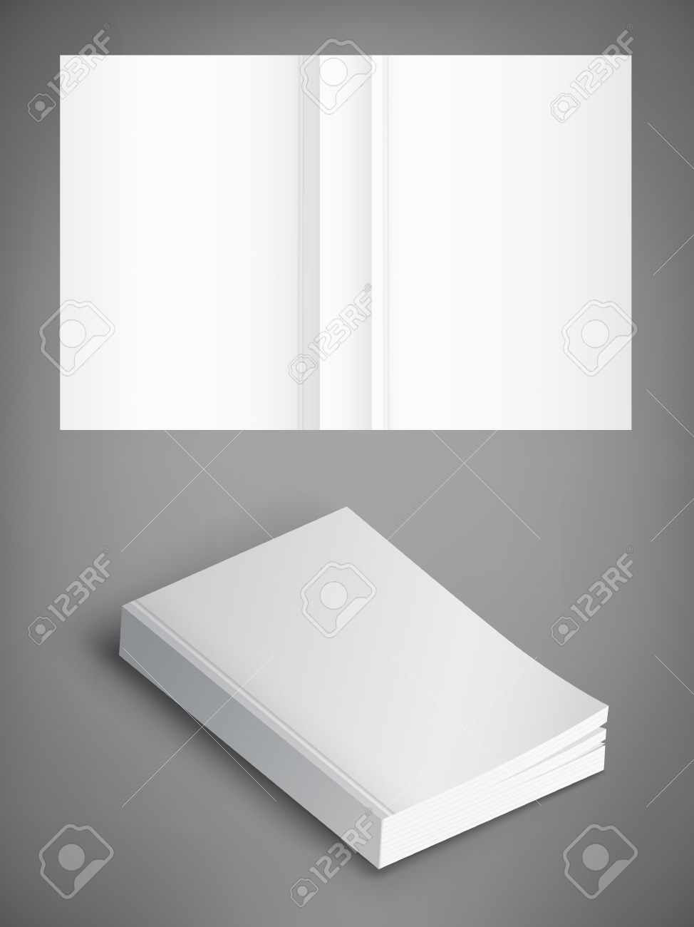Realistic vector blank of paperback cover book. Template for your design. Grayscale Mockup. - 78710140