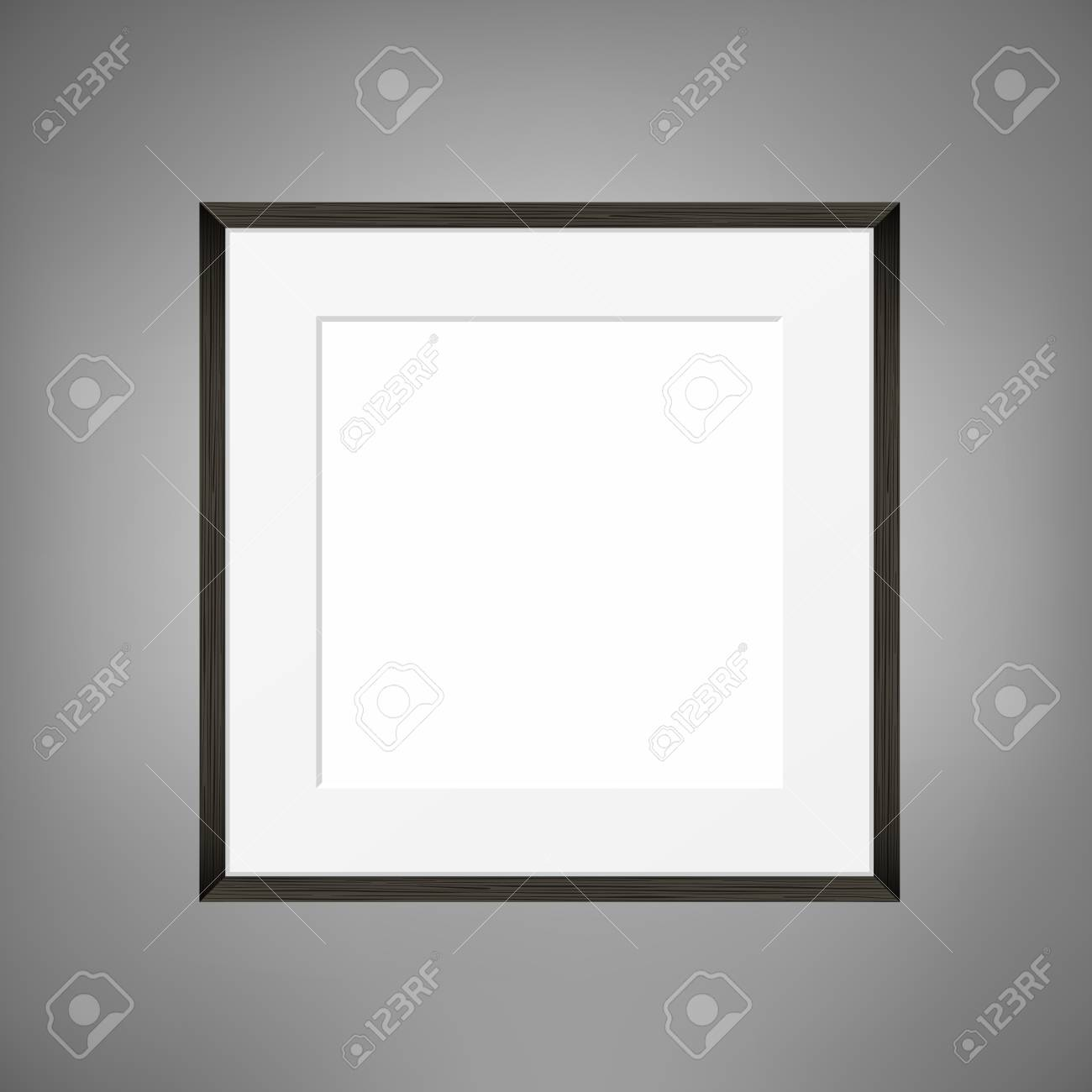 Square Blank picture frame template on grey wall. Realistic black frame - 76780014