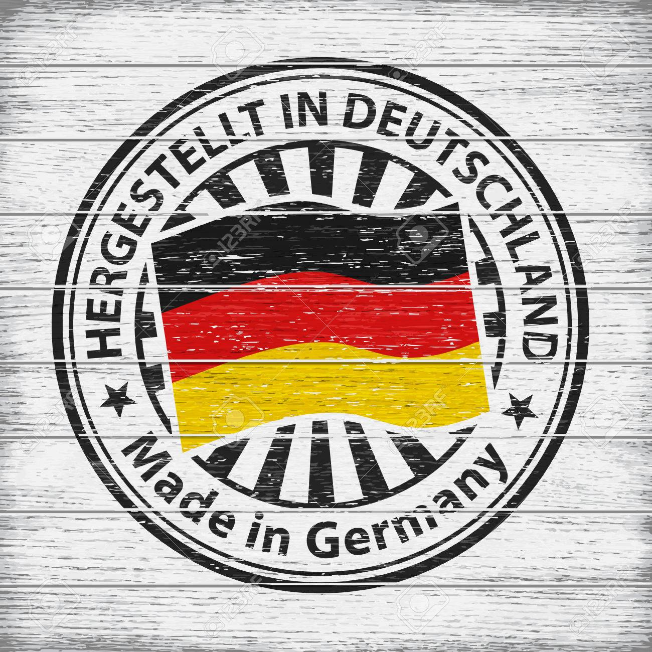 Vector stamp with flag of Germany, circular lettering Hergestellt in Deutschland on wooden background - 76780158
