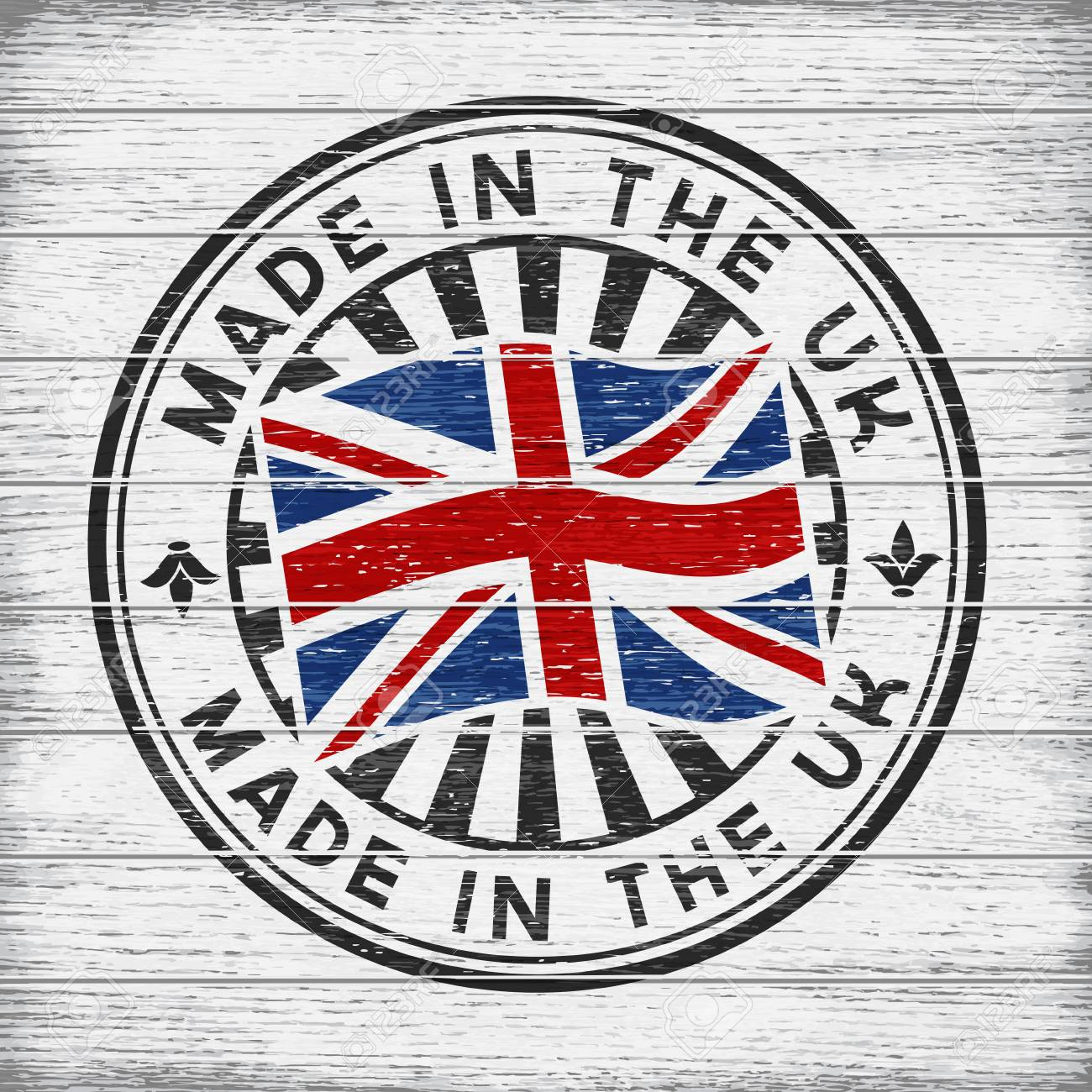 Vector stamp with flag of GB, circular lettering made in the UK on wooden background - 76780164