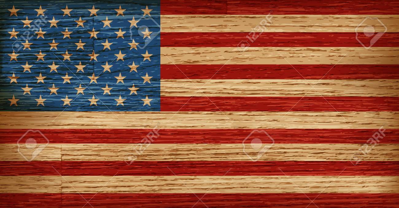 USA, American flag painted on old wood plank background. Realistic vector - 77061709