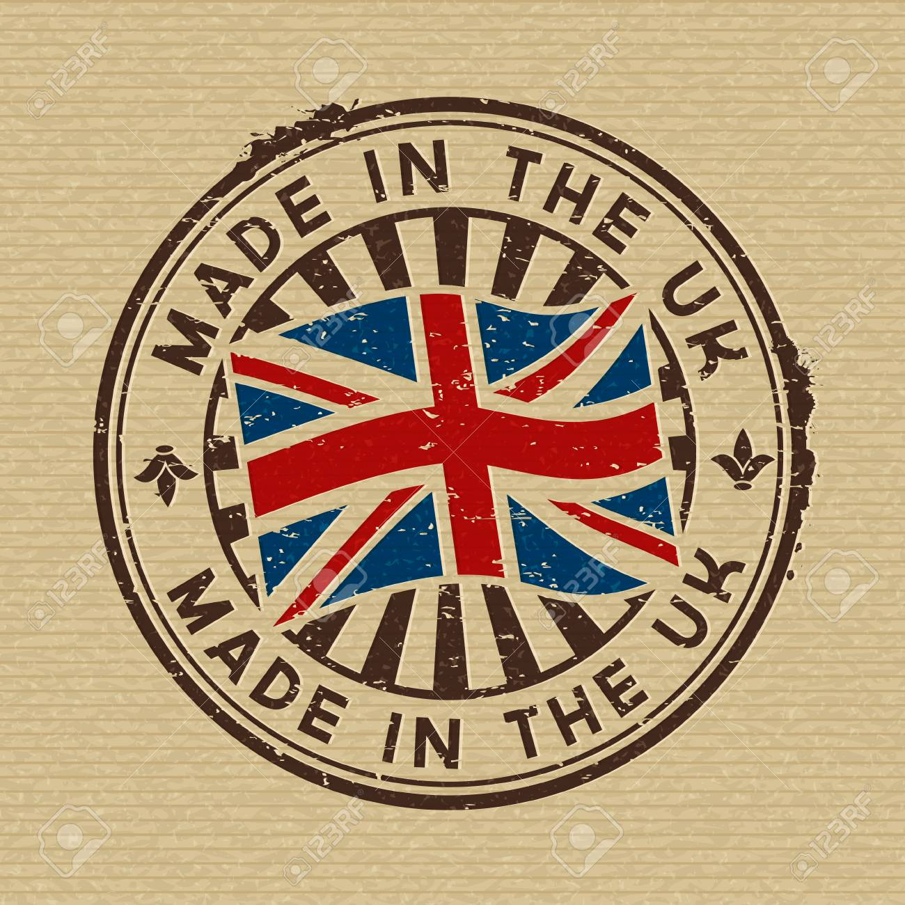 Vector stamp with flag of GB, circular lettering made in the UK on wooden background - 78460245
