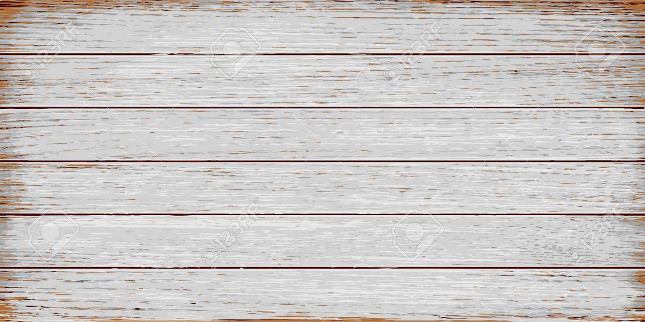 White, grey wooden texture, old painted grunge planks. Vector realistic - 78460263