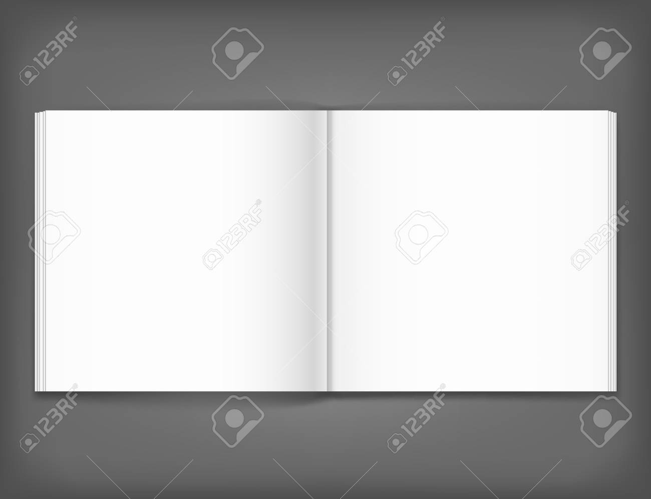 Vector blank of open magazine on neutral grey background. Square format. Using mesh. Template - 78460274