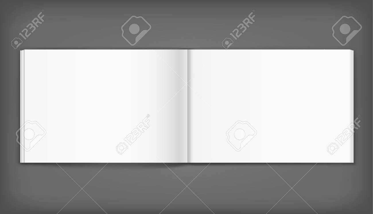 Vector blank of open album on neutral grey background. Using mesh. Template - 78460288