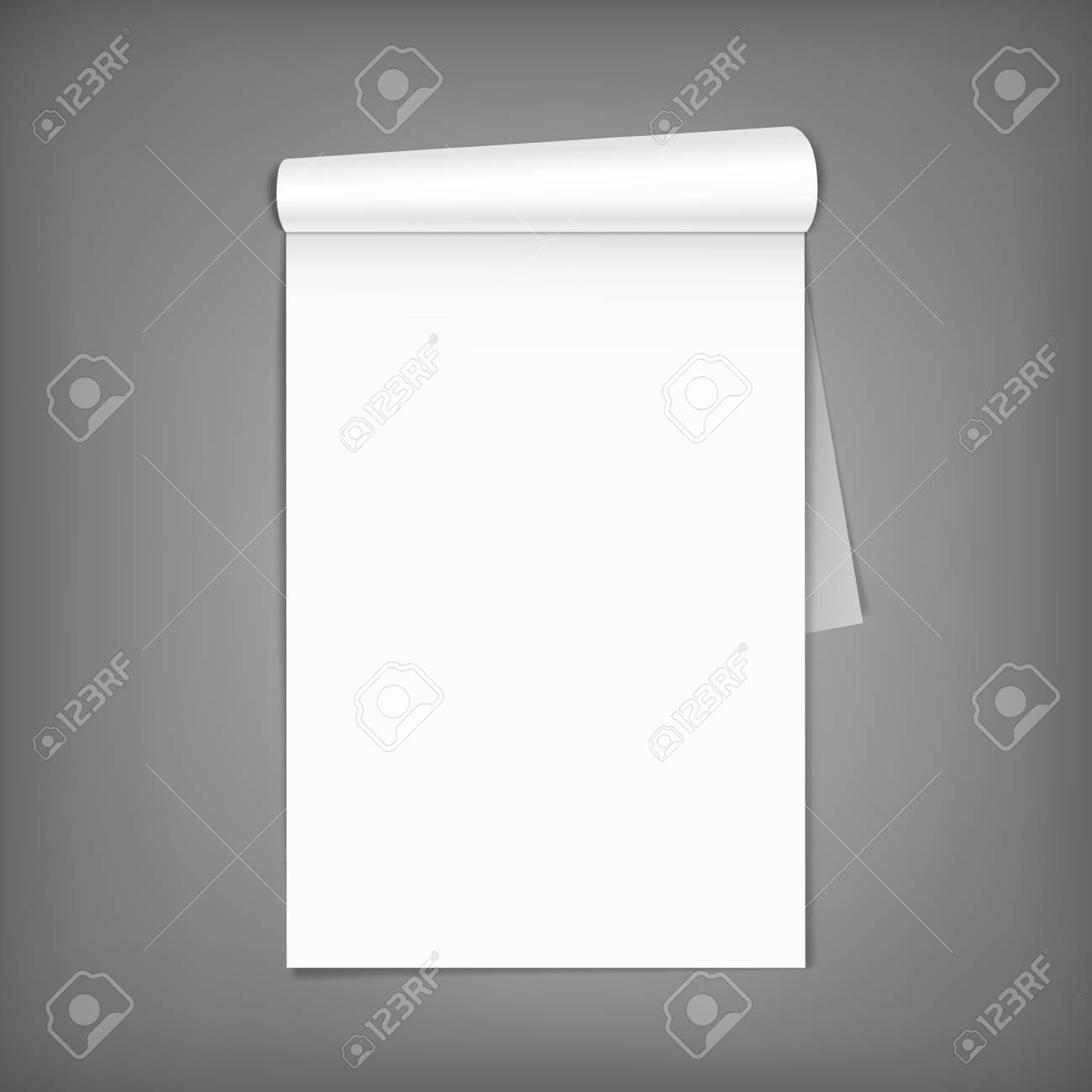 Blank open magazine with rolled page on neutral grey background . Vertical orientation. Template for your design. - 78993647