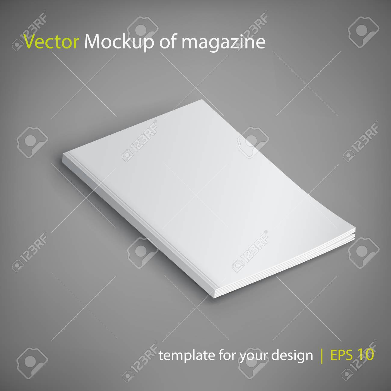 Vector Mockup of magazine on gray background. Template for your design. - 79421969