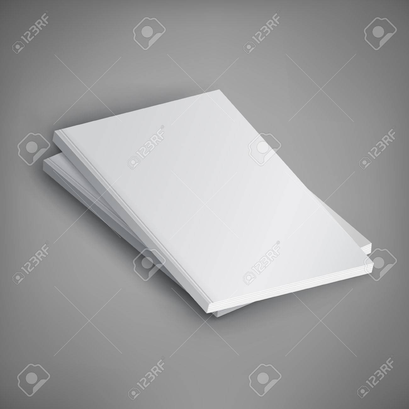 Vector Mockup of magazine stack on gray background. Template for your design. - 79421978