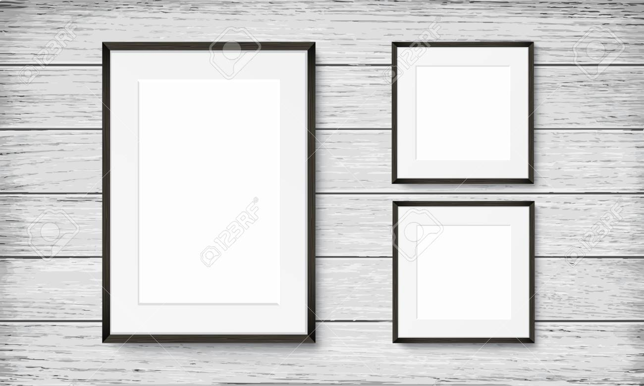 Set of blank frames on wooden vintage wall - 79421967