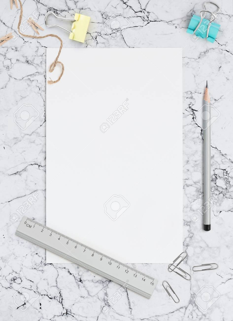 Blank sheet of paper on marble background. Template for calligraphy, letterings, design or all kinds of your art. Mockup for Social networks - 85581155