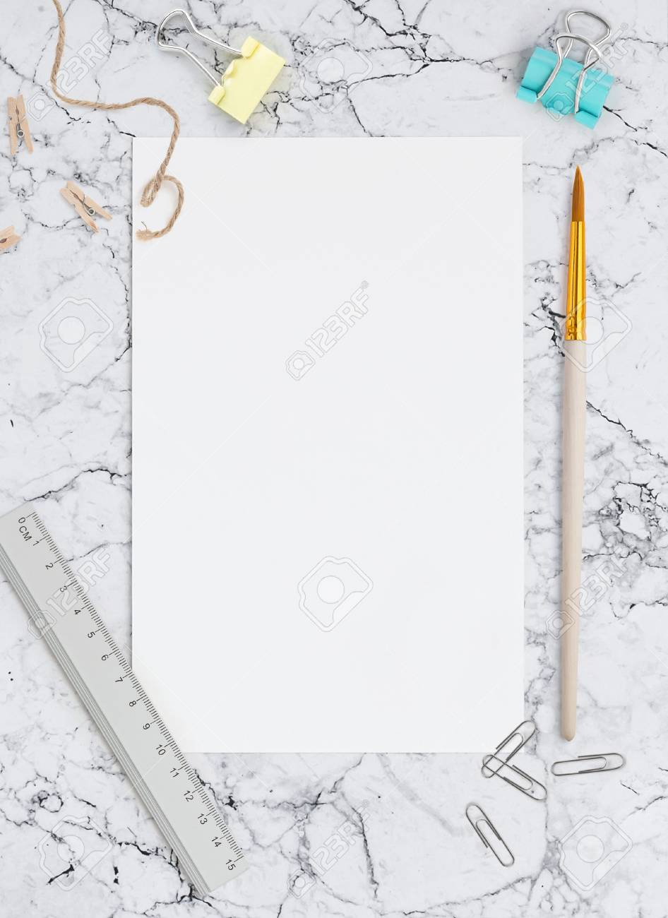 Blank sheet of paper on marble background. Template for calligraphy, letterings, design or all kinds of your art. Mockup for Social networks - 85581156