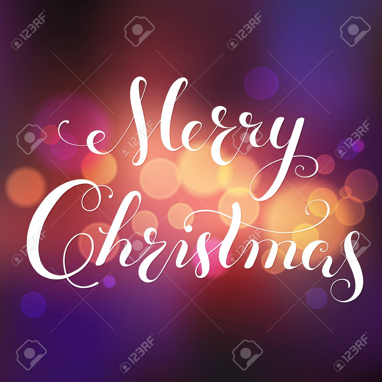 Merry Christmas calligraphy lettering. greeting card with bokeh background, blurred festive lights. Vector. - 88188308