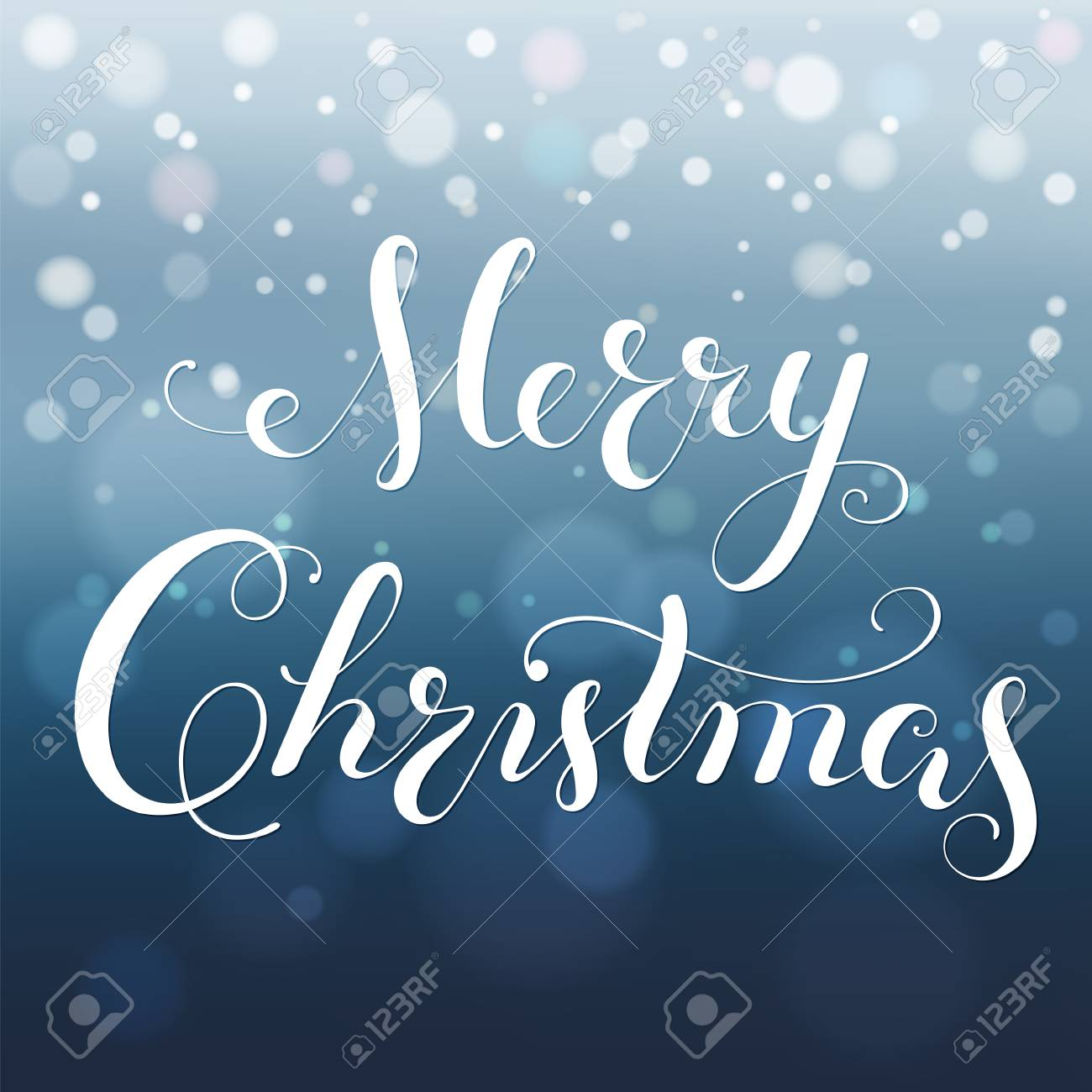 Merry Christmas calligraphy lettering. greeting card with bokeh background, blurred nowflakes and lights. Vector. - 88846899