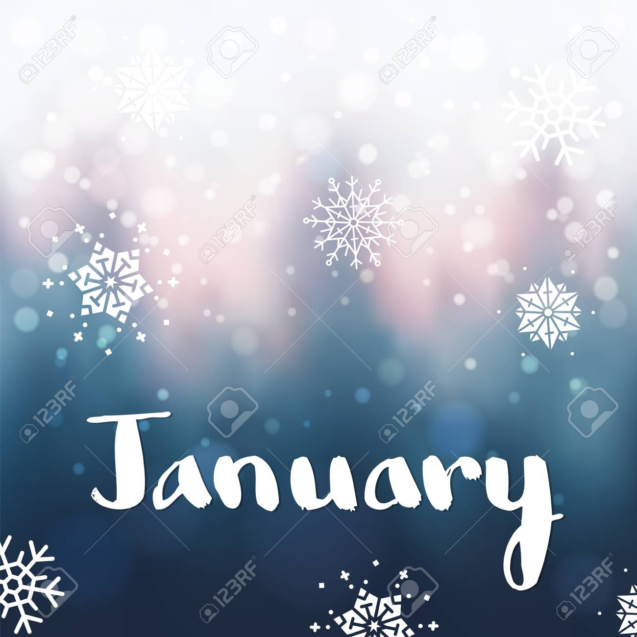 January letterig by brush on blue winter forest illustration. - 88965819