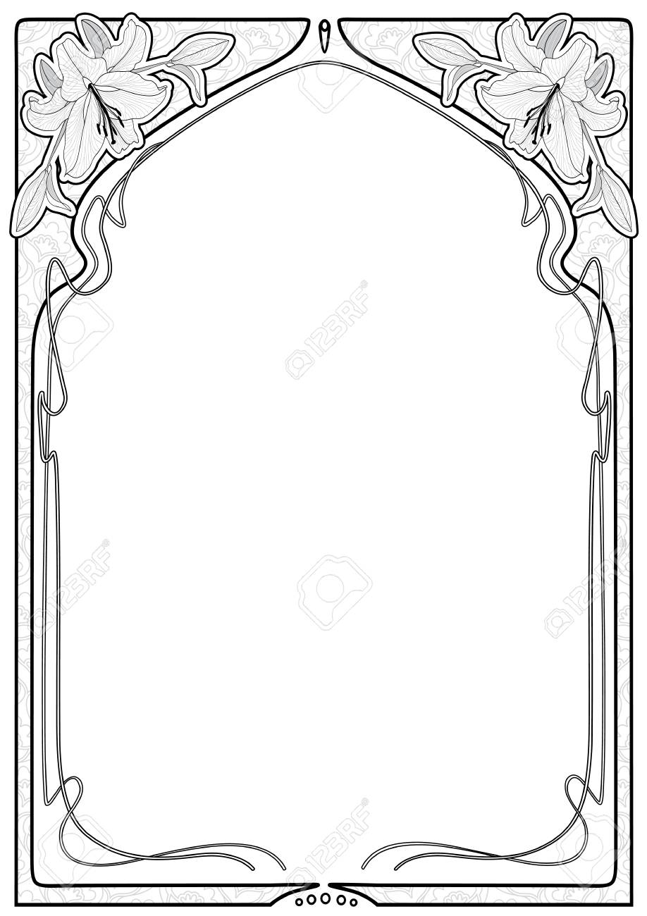 Vintage rectangular decorative frame with art Nouveau floral ornament with lily flowers. Space for text. - 89966305