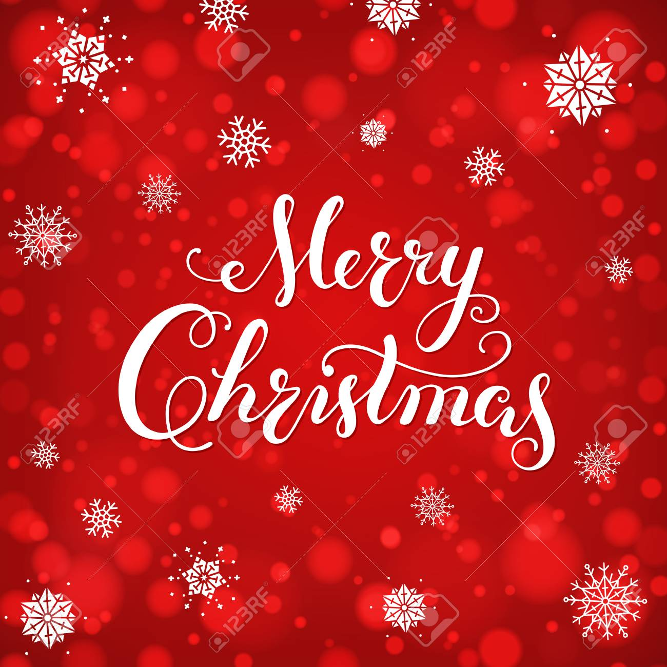 Merry Christmas Calligraphic Lettering card. Creative typography for Holiday, Greeting, Gift, Poster on red Background with bokeh and snowflakes. - 90250541