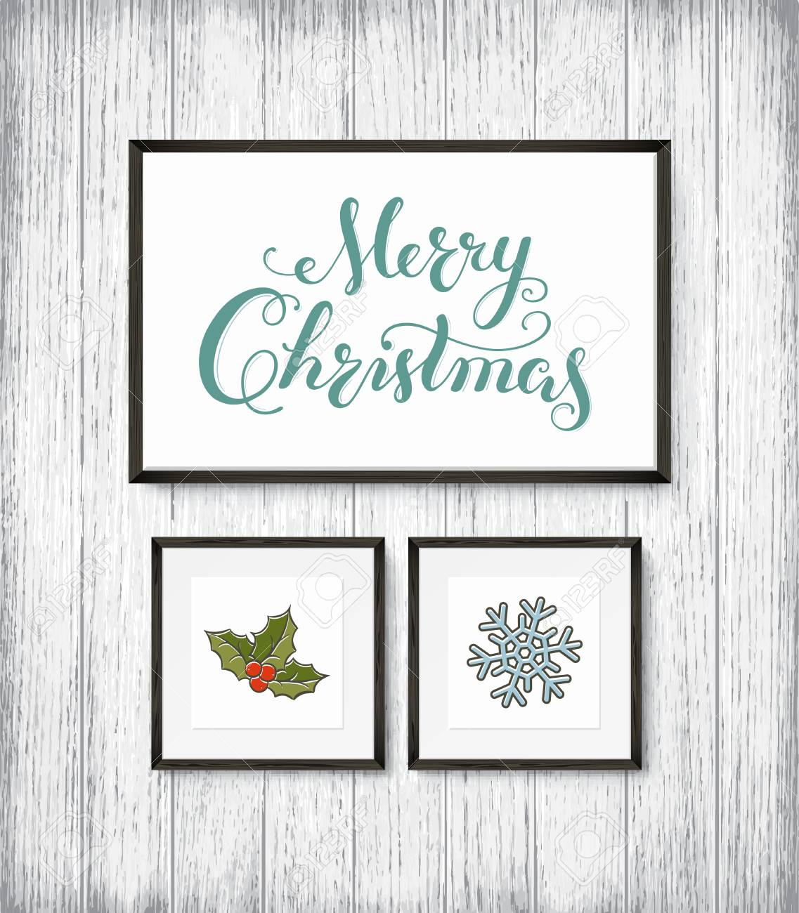 Calligraphy Lettering MERRY CHRISTMAS poster with hand drawn elements in frames on wooden wall. Vector illustration - 91756209