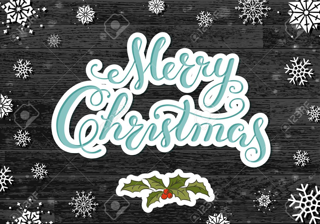 Calligraphy lettering Merry Christmas with hand drawn elements and snowflakes on old rustic black planks. - 91665174
