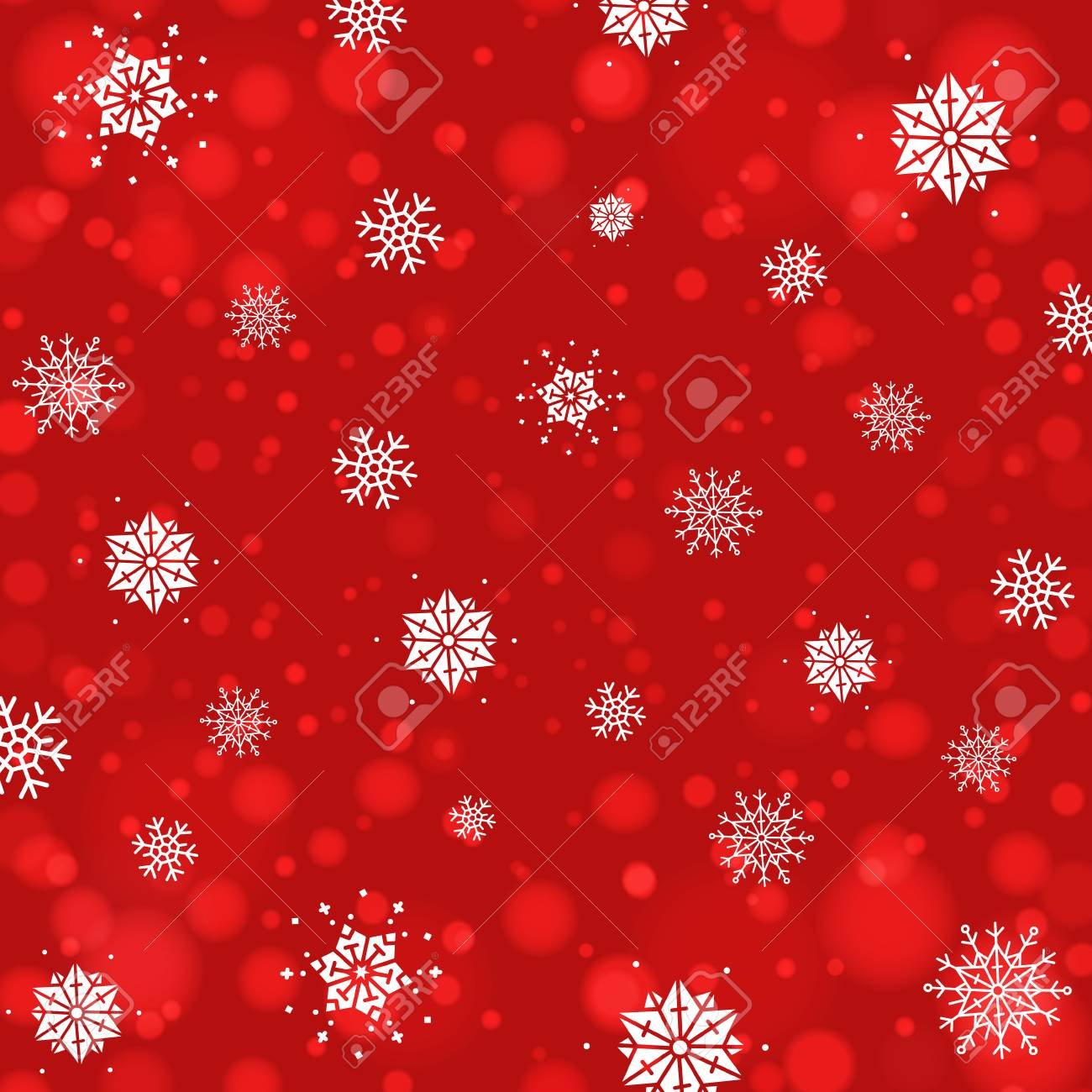 Abstract Christmas background with snowflakes and bokeh background. New year red back. - 94815163