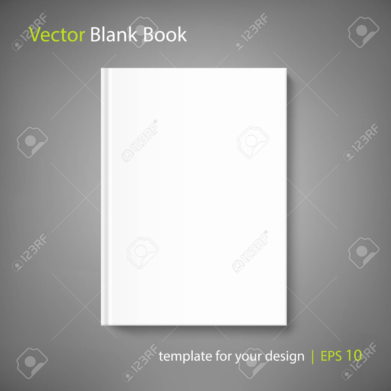 Mock up book cover on neutral grey background. Vector template for your design. - 95843005