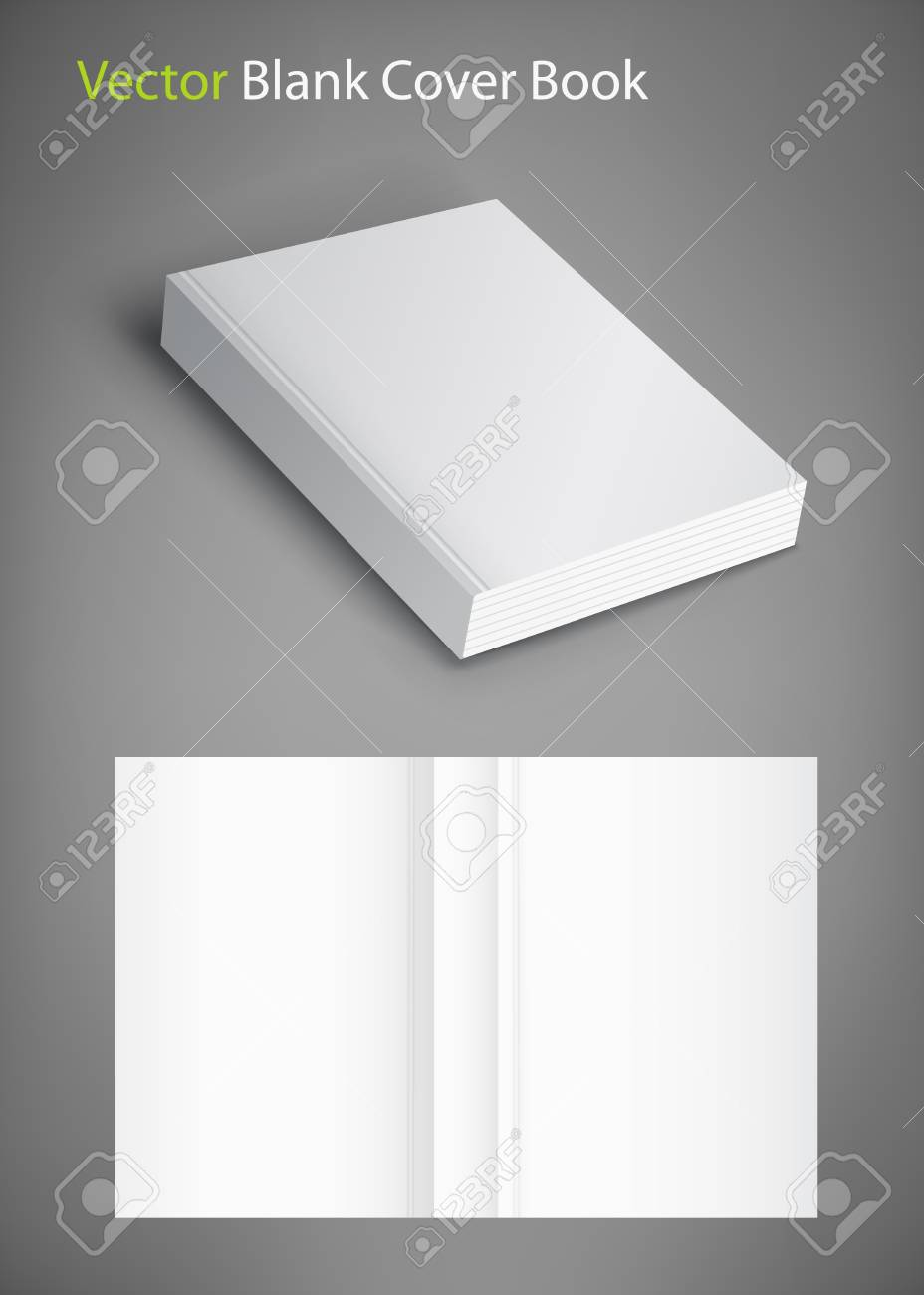 Realistic vector blank of paperback cover book. Template for your design. Grayscale Mockup. - 95847001
