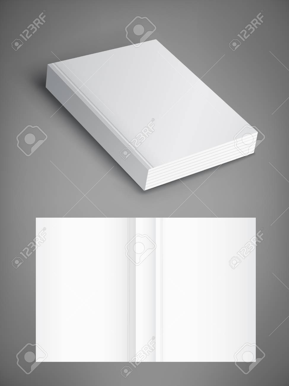 Realistic vector blank of paperback cover book. Template for your design. Grayscale Mockup. - 95843011