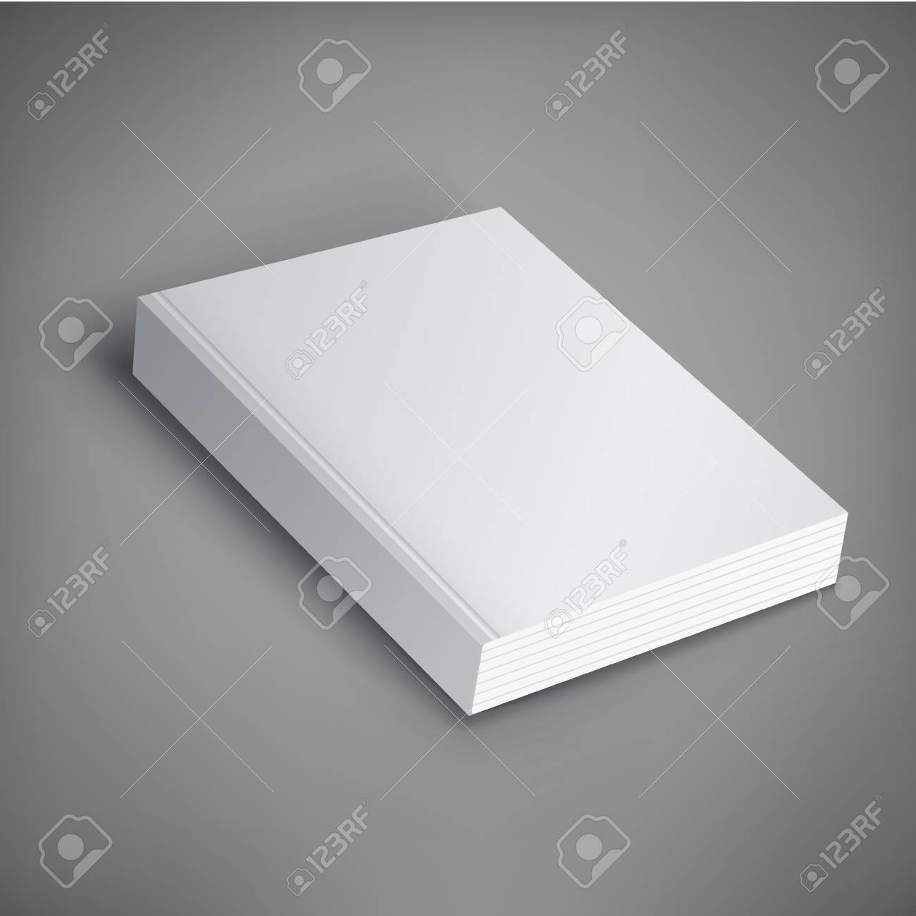 Realistic vector blank of paperback cover book. Template for your design. Grayscale Mockup. - 95843104