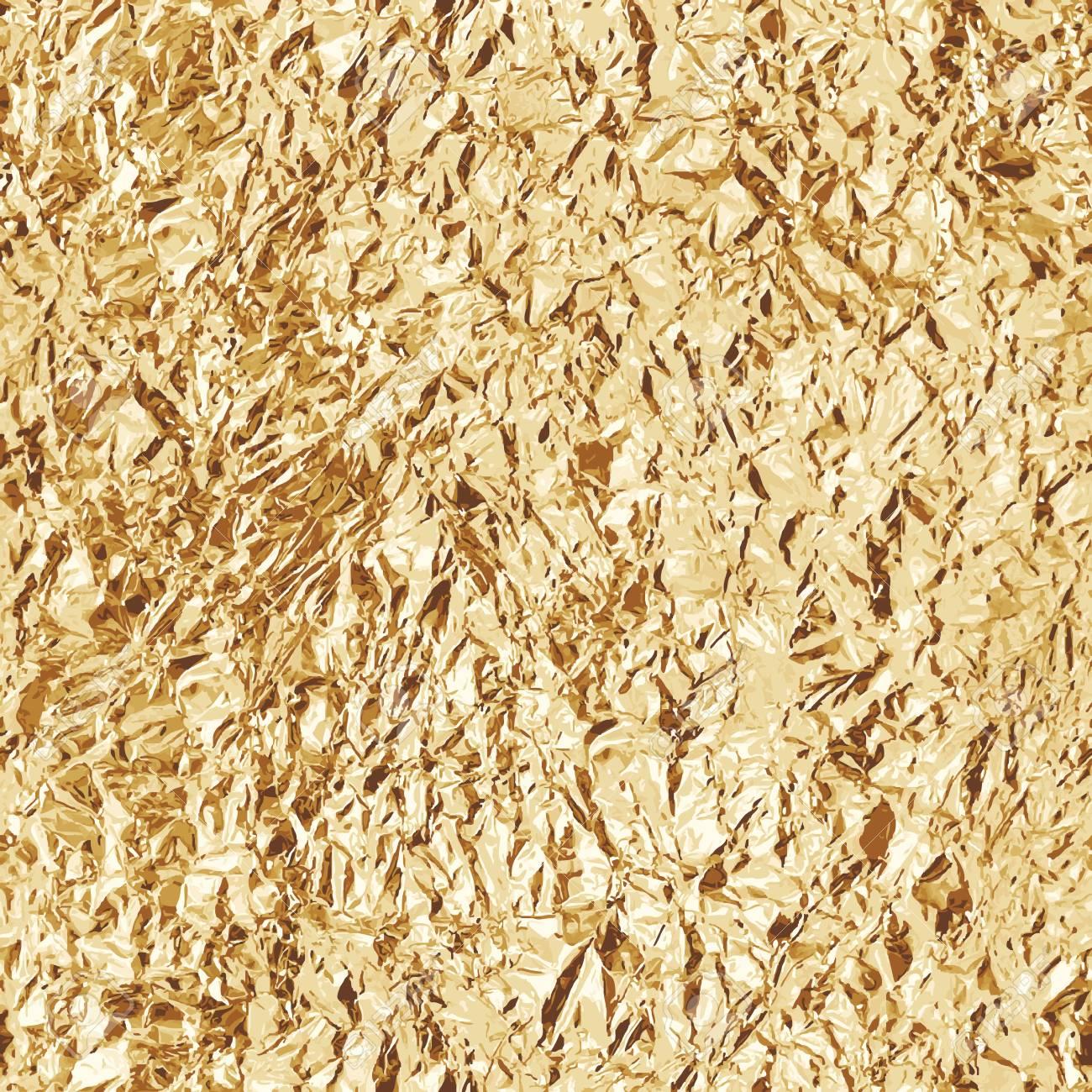 Crumpled gold foil. Seamless texture. Vector beckground - 100230505