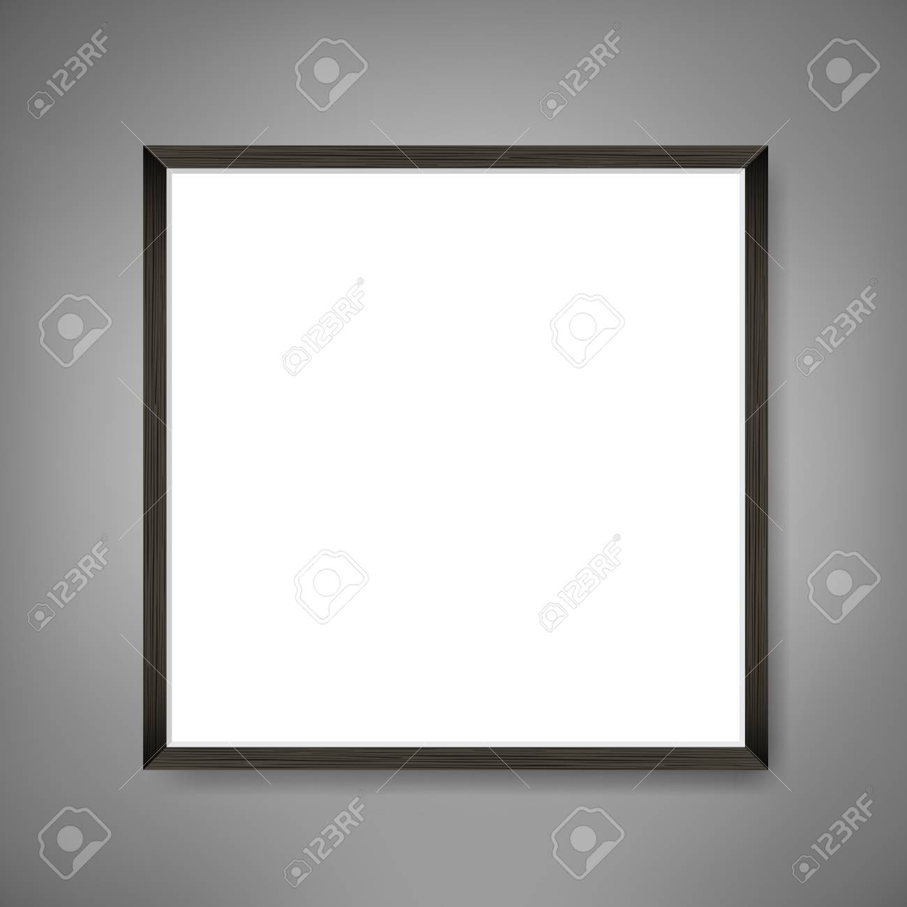 Square Blank picture frame template. Realistic black frame on grey wall for photo or poster. - 102147431