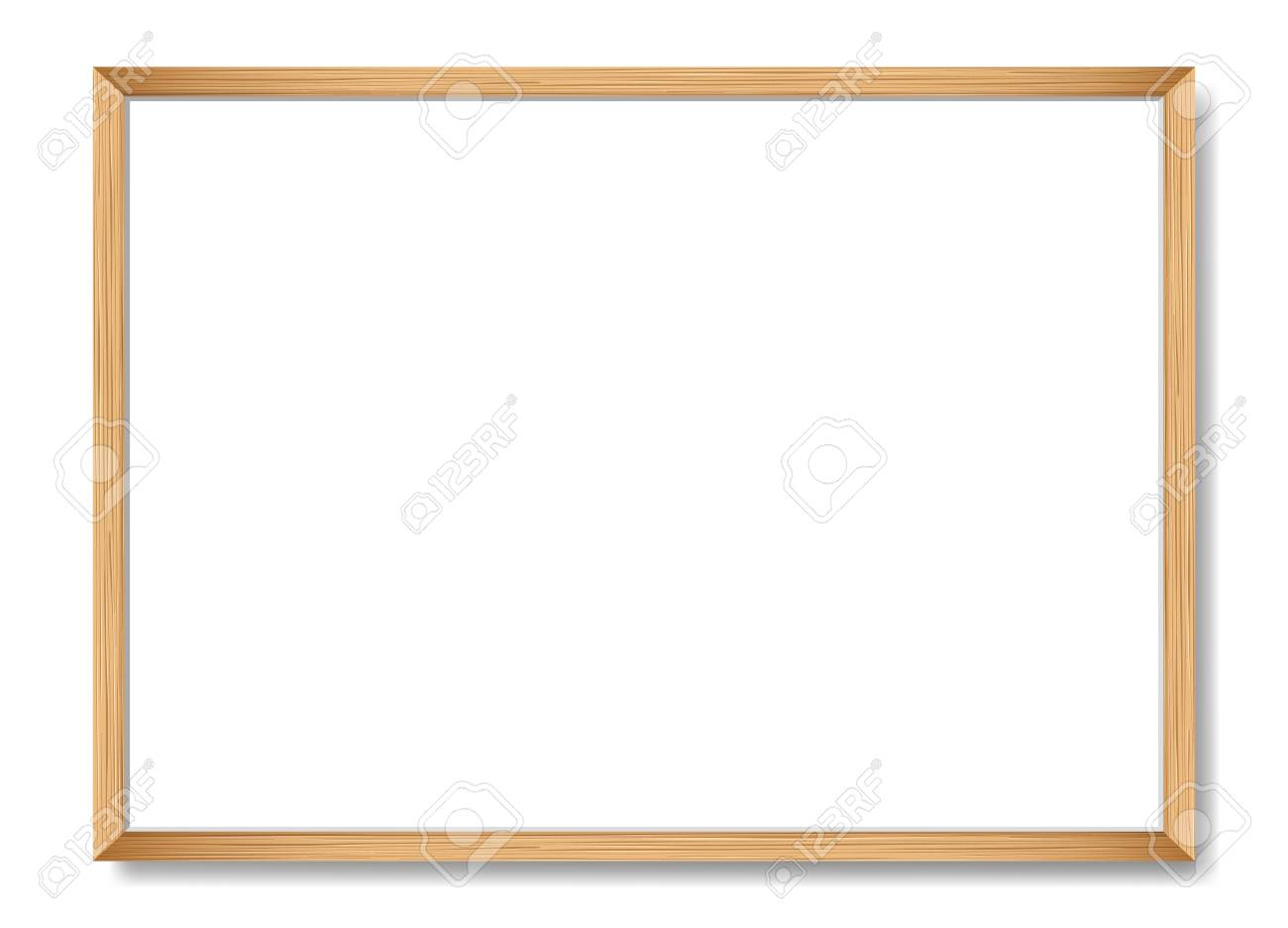 Blank picture frame template. Realistic wooden frame with shadow on white for photo or poster. Horizontal orientation A4 - 102210663