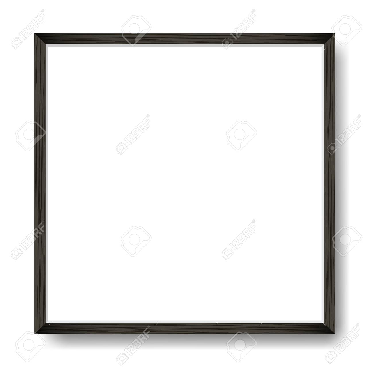 Square Blank picture frame template. Realistic black wooden frame with shadow on white wall for photo or poster. - 102210654