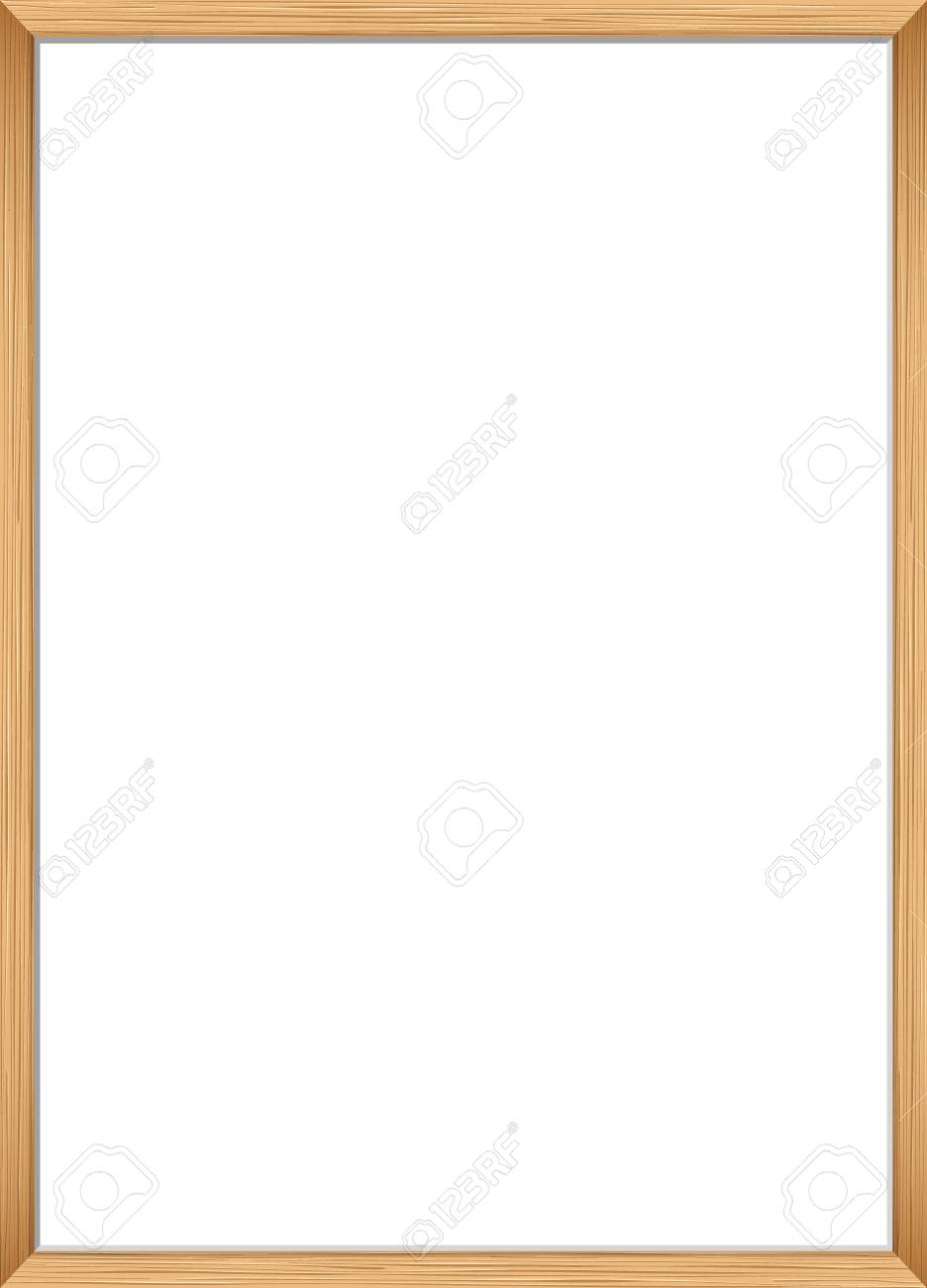 Blank picture frame template. Realistic wooden frame for photo or poster. Vertical orientation A4 - 102210661