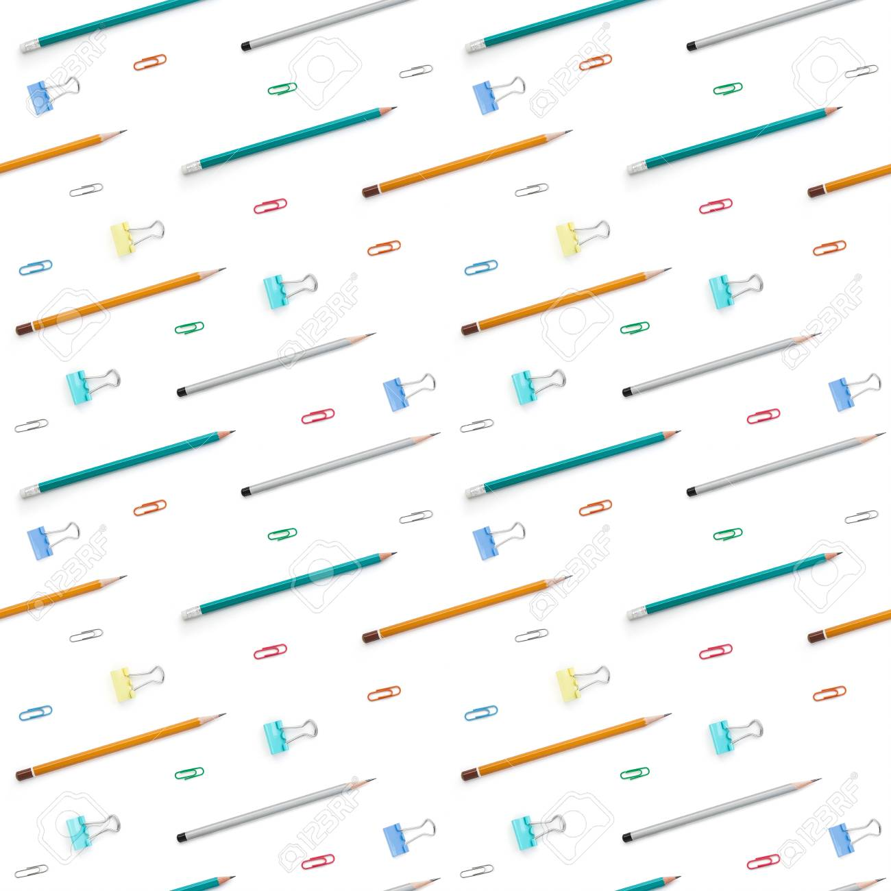 Flat lay with bright stationery supplies on white background. Seamless pattern. Back to school - 105719738