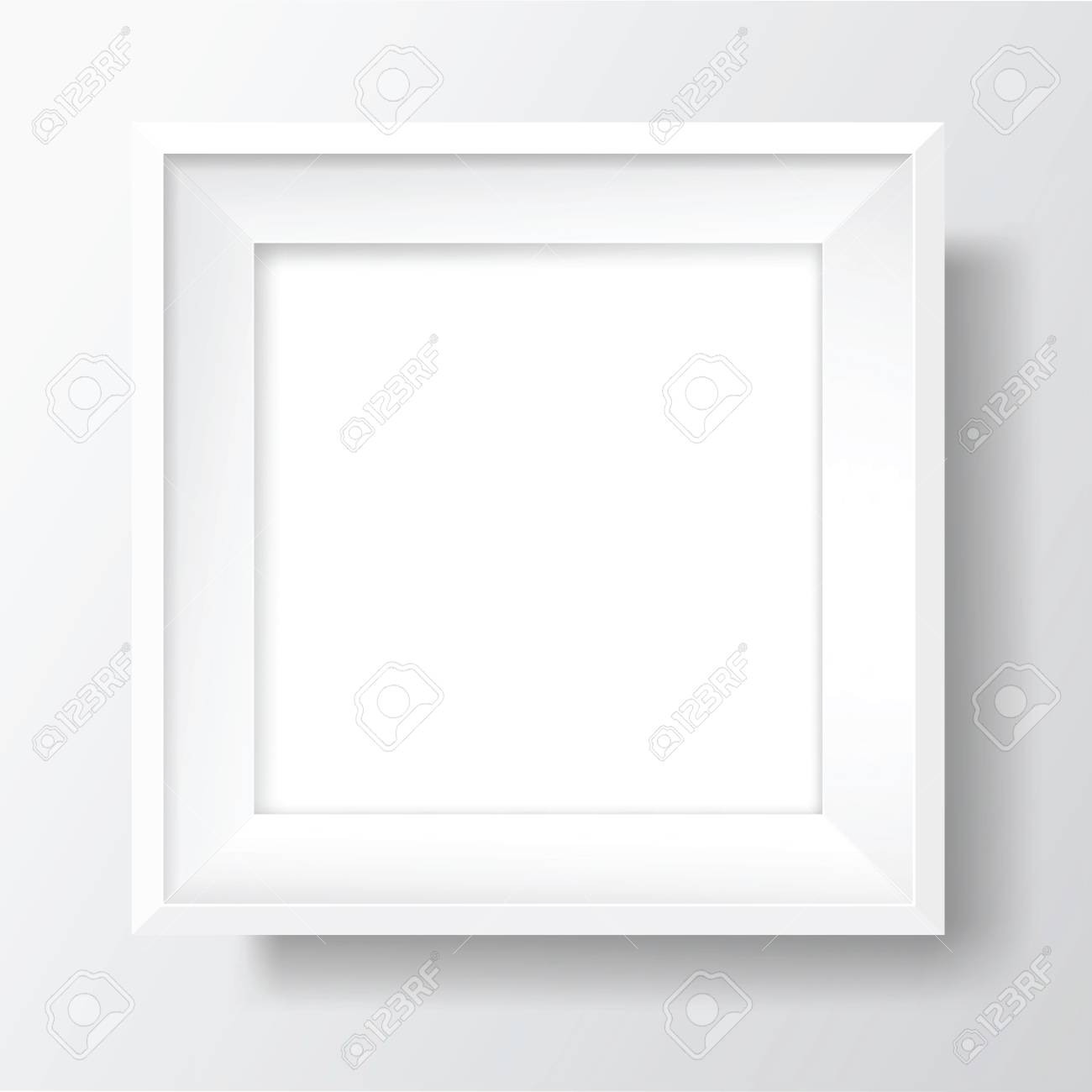 Square Blank picture frame template. Realistic white frame with shadows on white wall for photo or poster. Vector - 105719740