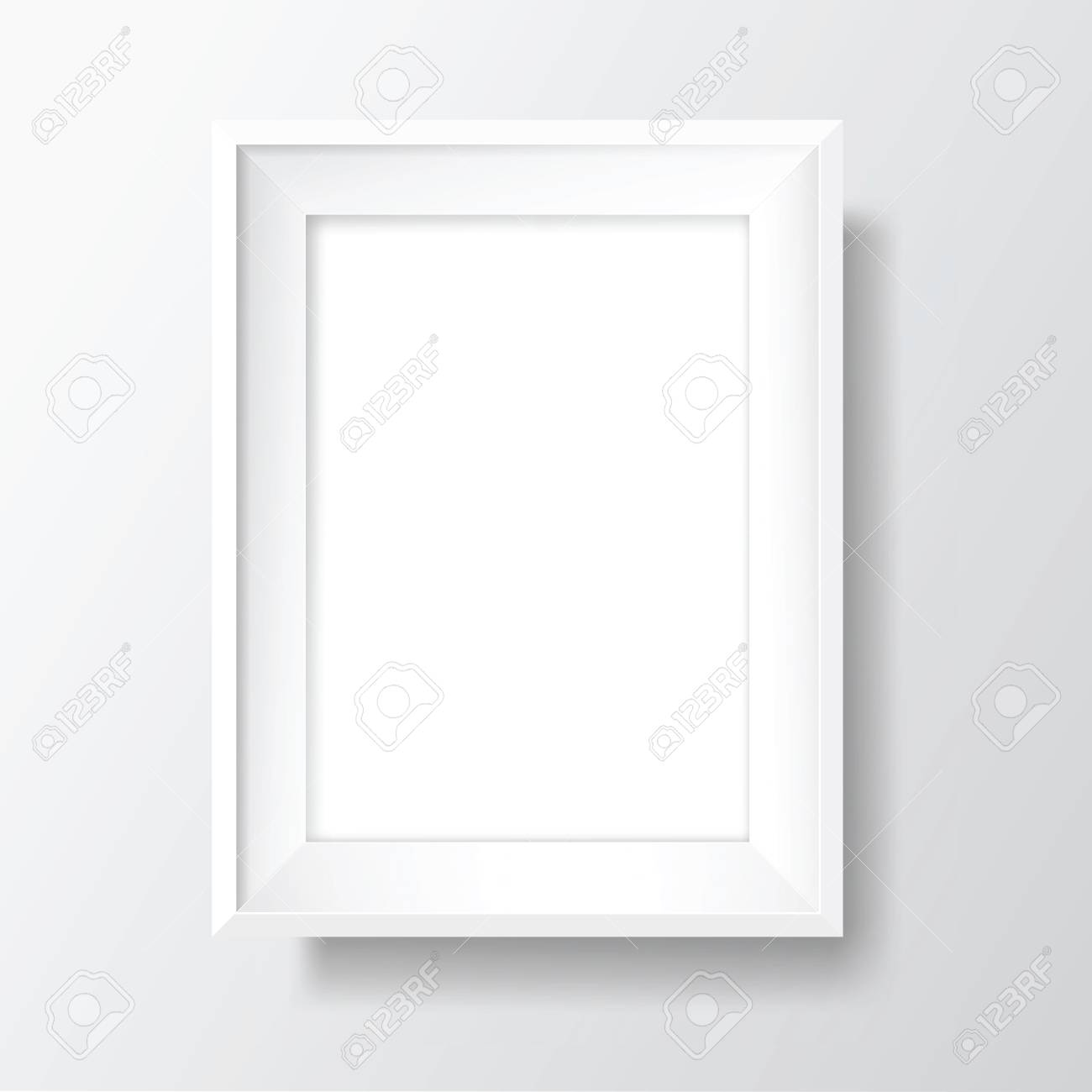 Blank picture frame template. Realistic white frame with shadow on white wall for photo or poster. Vertical orientation A4 - 105719741