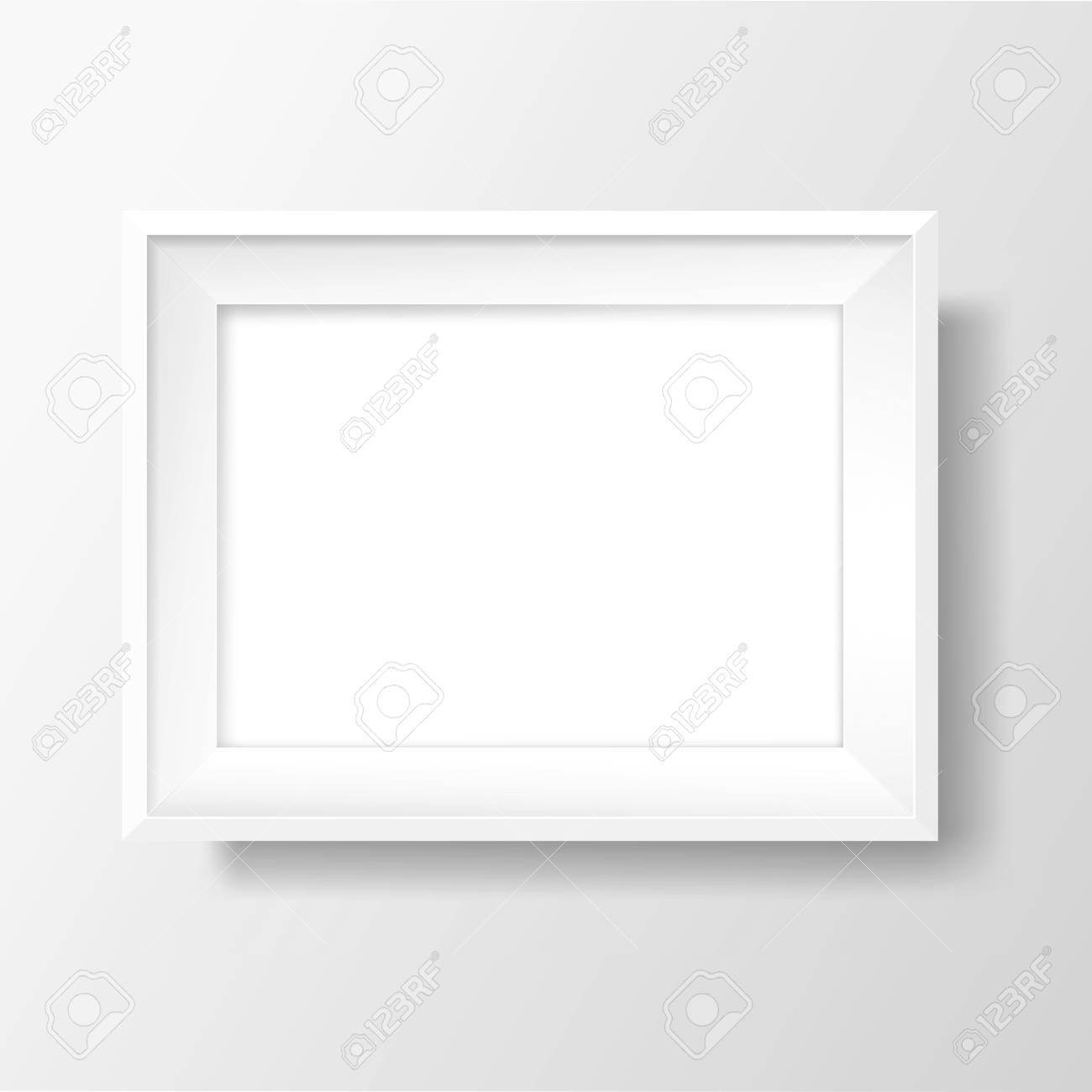 Blank picture frame template. Realistic white frame with shadow on white wall for photo or poster. Horizontal orientation A4 - 105719742
