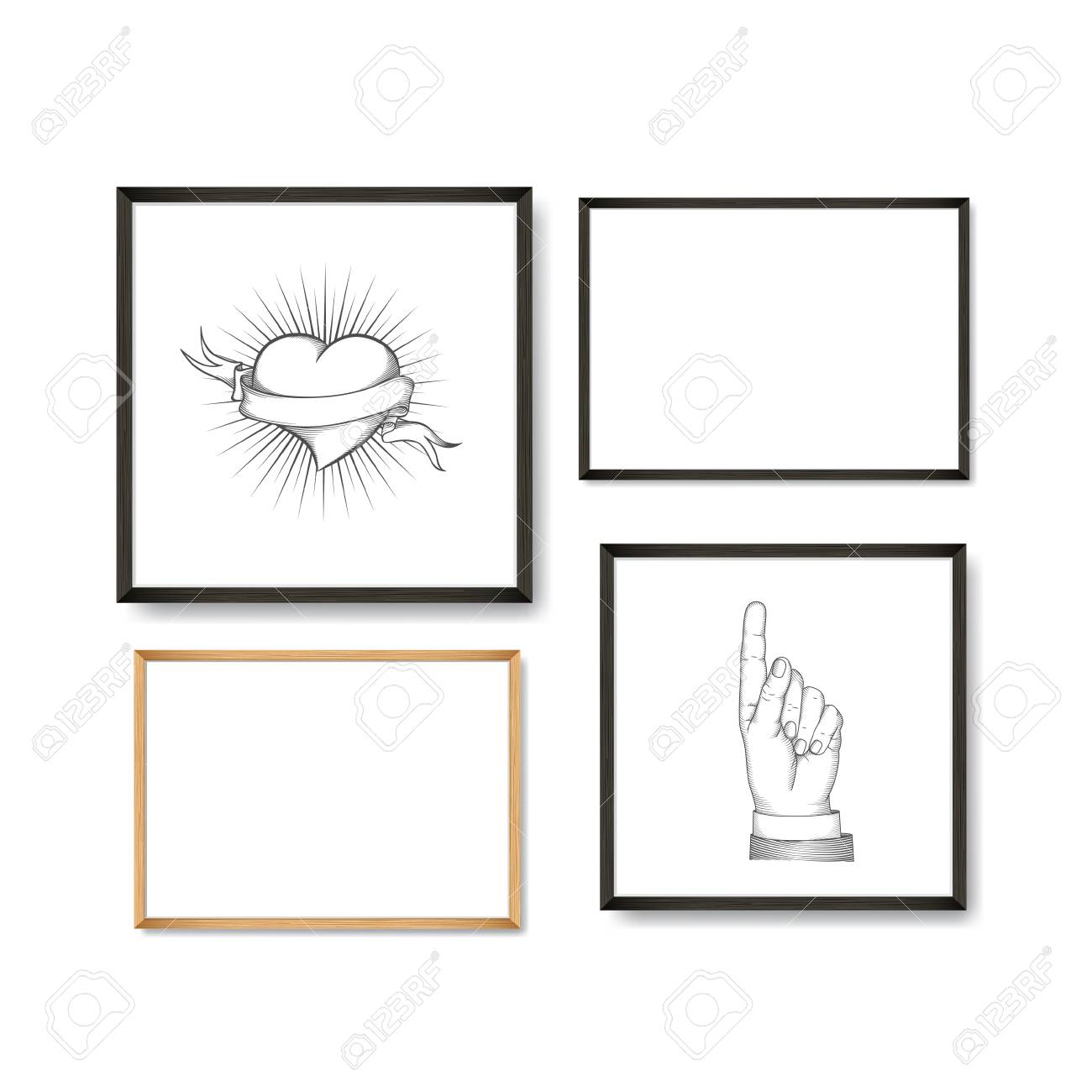 Set of Realistic Light and Dark Wooden Picture Frames on a White Wall, isolated on white. Design Template for Mock Up. Square and rectangle A4 shapes. Vector - 105719743