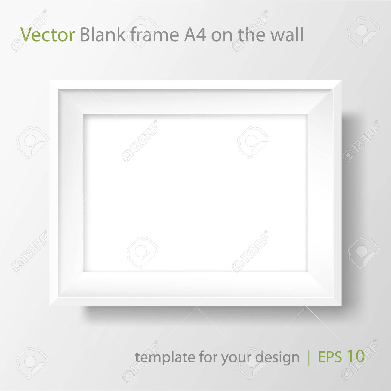 Blank picture frame template. Realistic white frame with shadow on white wall for photo or poster. Horizontal orientation A4 - 106756967